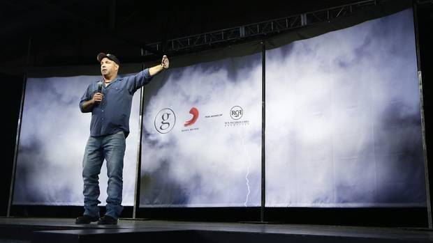 Country music star Garth Brooks speaks at a news conference on Thursday, July 10, 2014, in Nashville, Tenn. AP photo