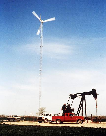 Small wind turbines, such as this one manufactured by Bergey Windpower of Norman, may one day power American Indian casinos in Oklahoma. PHOTO PROVIDED BY BERGEY WINDPOWER
