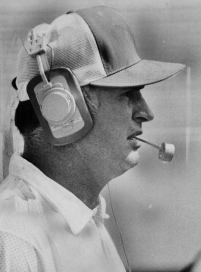 On the field Sept. 16, 1973: Oklahoma State University (OSU) football coach Jim Stanley