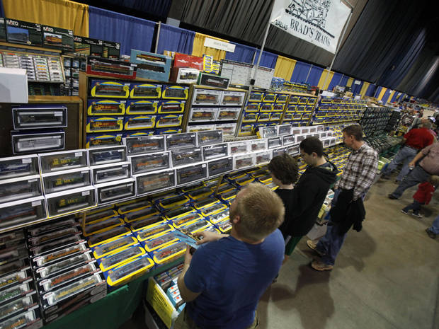 Train enthusiasts look through hundreds of model train cars during the OKC Train Show at State Fair Park in Oklahoma City, OK, Saturday, December 1, 2012,  By Paul Hellstern, The Oklahoman