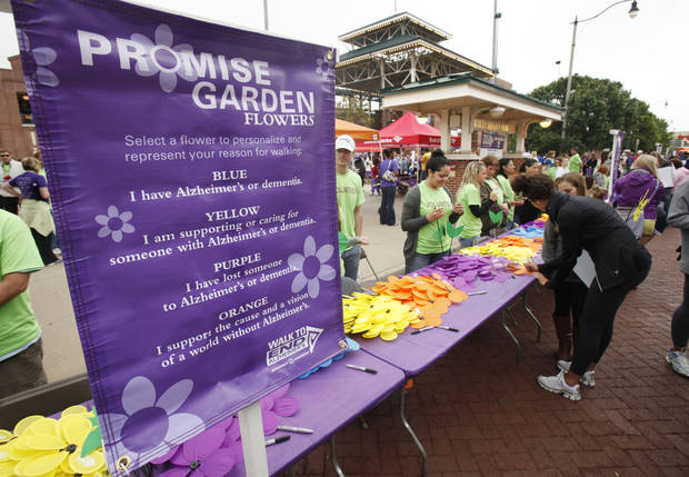 Spinning flowers signifying various connections to Alzheimer's are passed out the 2012 Oklahoma City Walk to End Alzheimer's at Bricktown Ballpark in Oklahoma City, OK, Saturday, September 15, 2012,  By Paul Hellstern, The Oklahoman