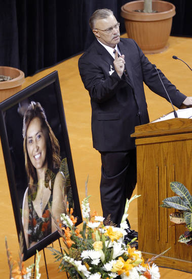 Oklahoma State women's interim basketball coach Jim Littell speaks during the memorial service for Oklahoma State head basketball coach Kurt Budke and assistant coach Miranda Serna at Gallagher-Iba Arena on Monday, Nov. 21, 2011 in Stillwater, Okla. The two were killed in a plane crash along with former state senator Olin Branstetter and his wife Paula while on a recruiting trip in central Arkansas last Thursday. Photo by Chris Landsberger, The Oklahoman