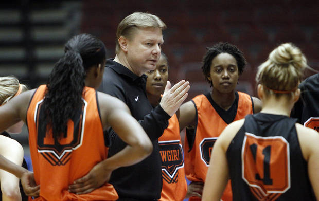 Oklahoma State head coach Kurt Budke talks to his team in the Big 12 Championship practice on Wednesday, March 10, 2010, in Kansas City, Mo.   Photo by Chris Landsberger, The Oklahoman