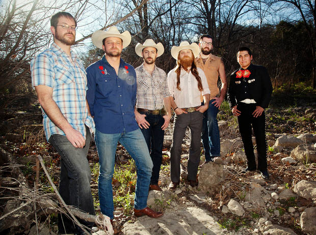 "From left, Doug Day, Rob Bacak, Sam Alberts, Josh Mazour and Anthony Ortiz Jr. are the Texas ""bandito country"" band Crooks. Photo by Mimi Klasson Imler <strong></strong>"