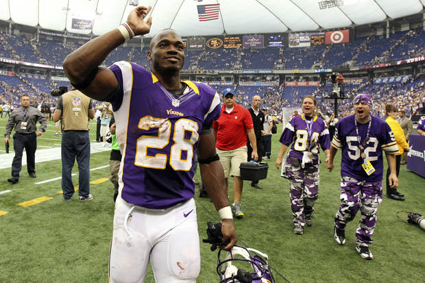 Minnesota Vikings running back Adrian Peterson expressed his opposition to gay marriage recently. AP PHOTO