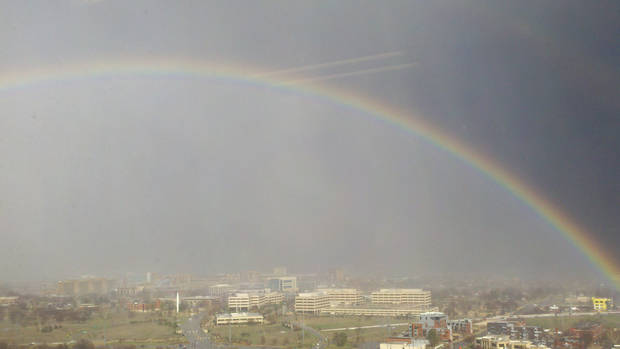 Rainbow from Sandridge 24th Floor Looking East after the storm- 4pm Feb 20th
