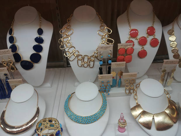 Kenneth Jay Lane necklaces and earrings at Dillard's, Penn Square Mall.