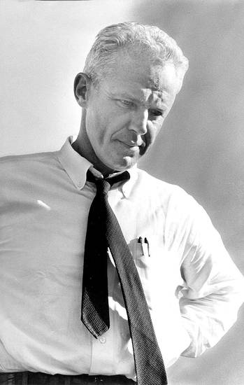Bud Wilkinson file photo 10/10/1959.      UNIVERSITY OF OKLAHOMA; OU head college football coach Bud Wilkinson stares blankly at the ground as the last seconds of the game tick away. <strong>JOE MILLER</strong>