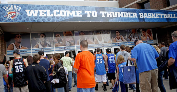 Fans line up as the doors open for the NBA basketball game between the Oklahoma City Thunder and the Los Angeles Clippers at Chesapeake Energy Arena in Oklahoma City, Wednesday, April 11, 2012. Photo by Bryan Terry, The Oklahoman