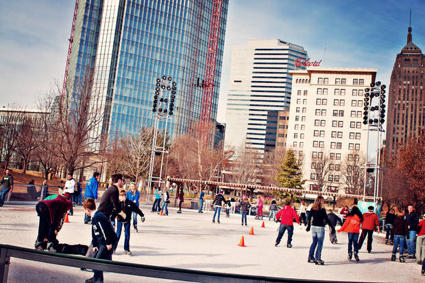 Ice skating on the seasonal Devon Ice Rink downtown remains a popular holiday tradition. PHOTO PROVIDED. <strong></strong>