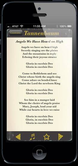 "You can use the mobile app ""Tannenbaum - Illustrated Caroling Companion"" to help you remember the words to popular Christmas carols like ""Angels We Have Heard on High."" PHOTO PROVIDED <strong></strong>"