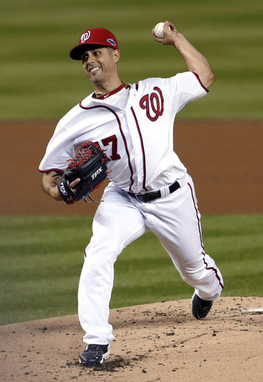 "FILE - In this Oct. 12, 2012, file photo, Washington Nationals starting pitcher Gio Gonzalez throws to the St. Louis Cardinals in the first inning of Game 5 of the National League division baseball series in Washington. Major League Baseball says it is ""extremely disappointed"" about a new report that says records from an anti-aging clinic in the Miami area link Alex Rodriguez and other players to the purchase of performance-enhancing drugs. The Miami New Times said in a story Tuesday, Jan. 29, 2013, that it had obtained files through an employee at a recently closed clinic called Biogenesis. Other players named by the publication as appearing in the records include Gonzalez, Melky Cabrera, Bartolo Colon and Nelson Cruz. Gonzalez denied the report in a post on his Twitter feed. (AP Photo/Pablo Martinez Monsivais, File)"