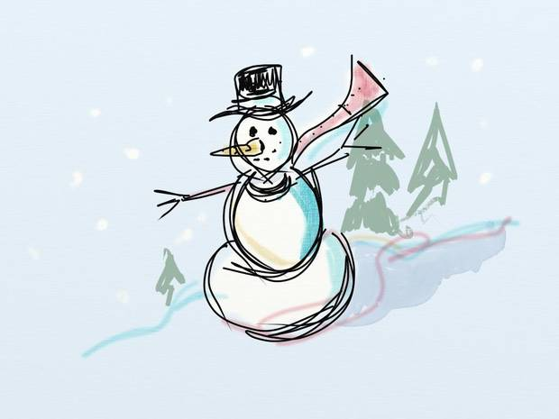 Todd Pendleton, art director for The Oklahoman graphics, drew and sketched this snowman, complete with layers and shadows, in just a few minutes using the ArtRage mobile application on the iPad 2. <strong></strong>