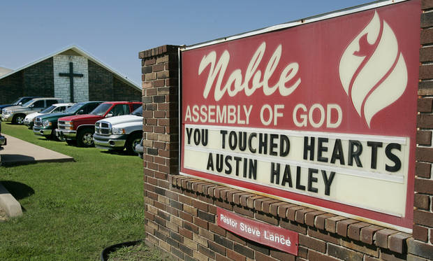 Noble Assembly of God Church, site of funeral service of Austin Haley, 5. BY JACONNA AGUIRRE/THE OKLAHOMAN.