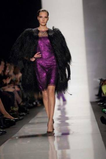 A model walks the runway during the Ralph Rucci fall 2013 runway show in New York. AP PHOTO