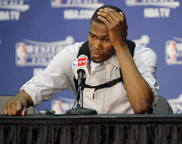 Oklahoma City's Kevin Durant answers questions from the media after game 3 of the Western Conference Finals of the NBA basketball playoffs between the Dallas Mavericks and the Oklahoma City Thunder at the OKC Arena in downtown Oklahoma City, Saturday, May 21, 2011. Dallas won, 93-87. Photo by Nate Billings, The Oklahoman