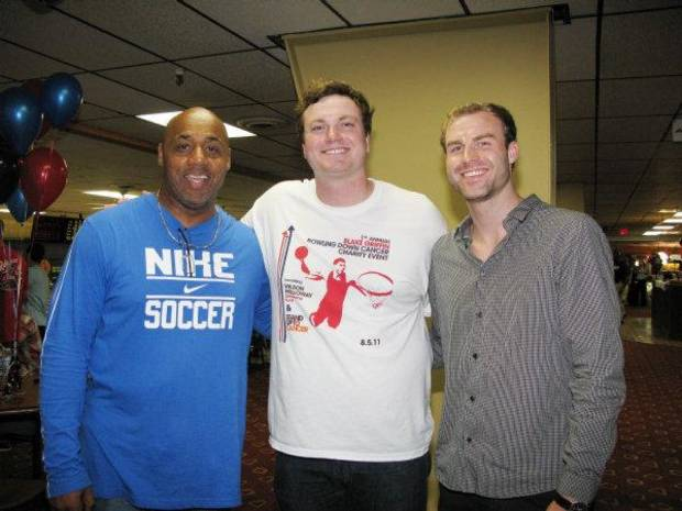 Eric Johnson, right, one of Blake Griffin's high school friends, organized the Bowling Down Cancer Charity Event, along with help from Kenny Talton and Zach Hardaway. PHOTO BY LILLIE-BETH BRINKMAN, THE OKLAHOMAN <strong></strong>