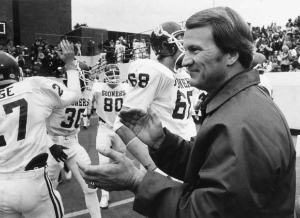 Barry Switzer, head football coach at the University of Oklahoma.  11/28/1981