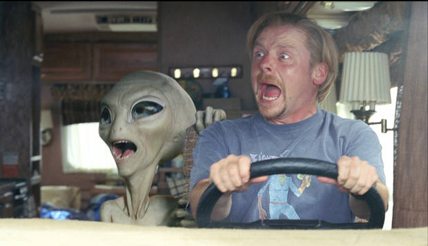 "In this film publicity image released by Universal Pictures, Paul the alien, voiced by Seth Rogen, left, and Simon Pegg are shown in a scene from the film, ""Paul."" (AP Photo/Universal Pictures)"
