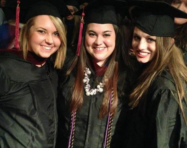 Oral Roberts University graduates Ciera Trisch, Amy Lecza and Ally Lightle smile for a graduation photo in May. After graduating with a degree in convergence journalism, Lecza packed up and moved to Chicago to move in with friends and look for a job. <strong>PHOTO PROVIDED</strong>