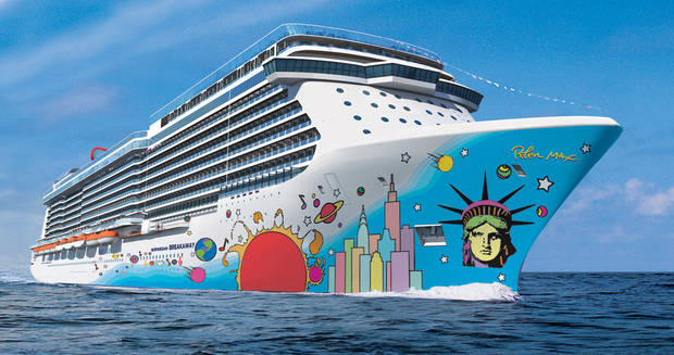 This undated artist�s rendering provided by Norwegian Cruise Line shows the exterior of the Norwegian Breakaway. The ship�s hull features the unmistakable pop art of Peter Max, with Lady Liberty's face and a city skyline anchoring the brightly colored design. The ship will carry 4,028 guests and will be the largest ever to homeport year-round in New York City, beginning in May. It�s considered one of the hottest new cruise ships coming out this year.  (AP Photos/Norwegian Cruise Line)