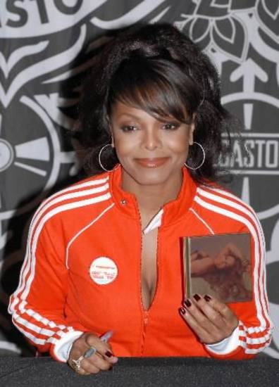 Janet Jackson signing CD's in New York City (AP Photo by Paul Hawthorne)