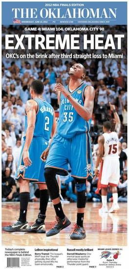 The Oklahoman, June 20, 2012, after the Thunder's 104-98 Game 4 loss to the Miami Heat in the NBA Finals.