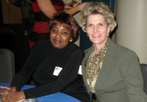 CELEBRATING 65....Debra Jackson and Cindy McCharen. (Photo by Helen  Ford Wallace).