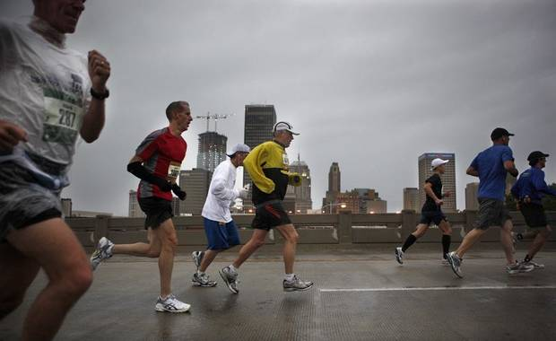 People run over the Dr. G. E. Finley Bridge during the Oklahoma City Memorial Marathon, Sunday, May 1, 2010, in Oklahoma City. Photo by Sarah Phipps, The Oklahoman ORG XMIT: KOD