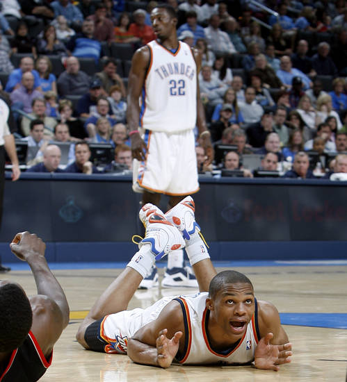 Oklahoma City's Russell Westbrook (0) reacts to a call during the NBA basketball game between the Oklahoma City Thunder and the Portland Trail Blazers, Sunday, Nov. 1, 2009, at the Ford Center in Oklahoma City. Photo by Sarah Phipps, The Oklahoman ORG XMIT: KOD