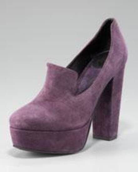 Diane von Furstenberg purple loafer pump.