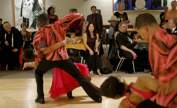 A crowd watches the Life Change Ballroom Dancers perform Friday, Oct. 19, 2012, at the Oklahoma City Swing Club. Photo by Bryan Terry, The Oklahoman <strong>BRYAN TERRY - THE OKLAHOMAN</strong>