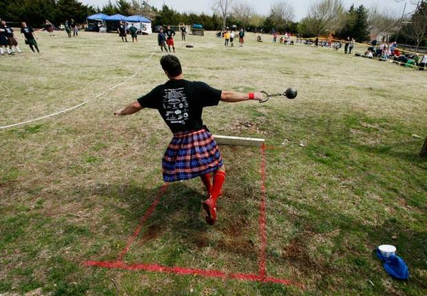 Chad Justin, Lawrence, Kansas, competes in the weight for distance at the Iron Thistle Scottish Heritage Festival and Highland Games at the Kirkpatrick Family Farm in Yukon Saturday March 21, 2009. Photo by Doug Hoke, The Oklahoman