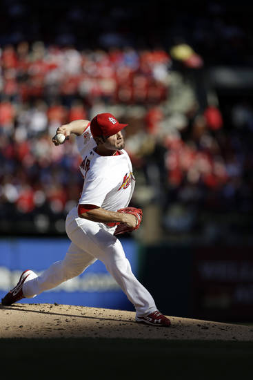 St. Louis Cardinals starting pitcher Jaime Garcia throws during the first inning in Game 2 of the National League division baseball series against the Washington Nationals, Monday, Oct. 8, 2012, in St. Louis. (AP Photo/Jeff Roberson)