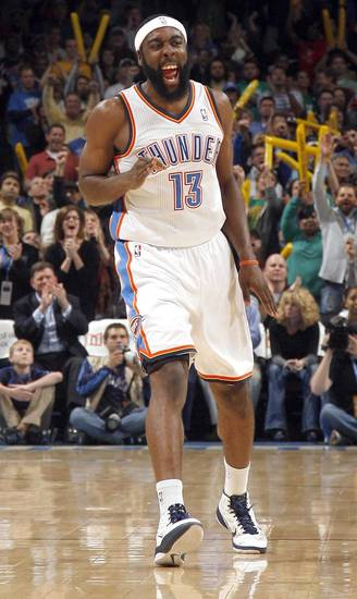 Oklahoma City&#039;s James Harden (13) celebrates a 3-pointer during the NBA game between the Oklahoma City Thunder and the Boston Celtics, Sunday, Nov. 7, 2010, at the Oklahoma City Arena. Photo by Sarah Phipps, The Oklahoman 