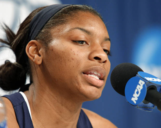 Yellow Jacket player Jacqua Williams speaks during a press conference after practice for round two of the 2009 NCAA Division I Women's Basketball Tournament at Carver-Hawkeye Arena at the University of Iowa in Iowa City, IA on Monday, March 23, 2009. 