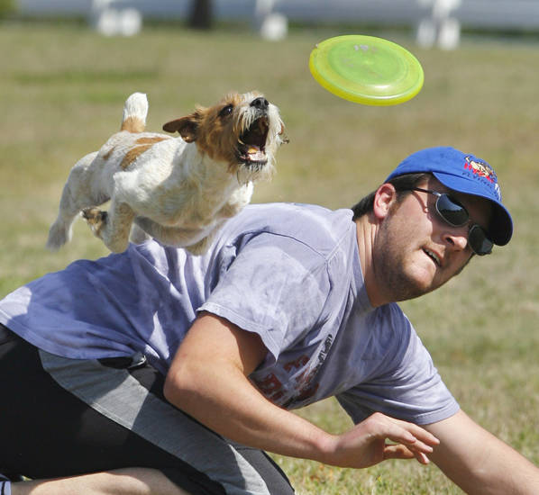 Chris Meyers and Petey compete in the Freestyle event during the Oklahoma State Disc Dog Championships on Saturday, May 7, 2011, in Norman, Okla.   Photo by Steve Sisney, The Oklahoman