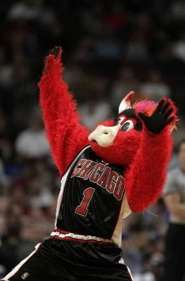 Chicago Bulls  mascot Benny the Bull dances during a time in this April 1, 2006 file photo in Chicago. (AP Photo/Jeff Roberson)