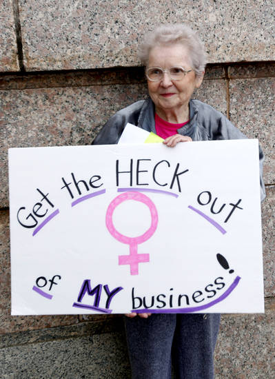Wanda Jo Stapleton of Oklahoma City holds a sign during a rally opposing the Personhood measures at the state Capitol, Tuesday, Feb. 28, 2012. Photo by Sarah Phipps, The Oklahoman