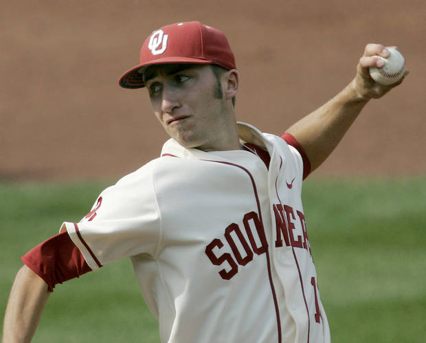 Oklahoma's Dillon Overton pitches against Oklahoma State  during their college baseball game at RedHawks Field in Bricktown on Sunday, April 17, 2011. Photo by John Clanton, The Oklahoman
