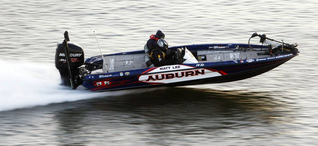 Bassmaster Classic college representative Matt Lee heads to a fishing spot during the Bassmaster Classic on Grand Lake on Saturday, Feb. 23, 2013, in Tulsa.  PHOTO BY TOM GILBERT, TULSA WORLD