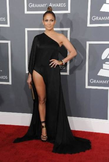 Jennifer Lopez and her leg arrive at the 55th annual Grammy Awards on Sunday, Feb. 10, 2013, in Los Angeles. (AP)