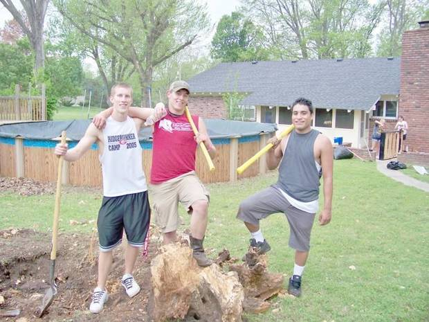 Jesse Carper, Tyler Kahler, and Cisco Aguilar working hard during last year's Big Event. (Miami News-Record photo)