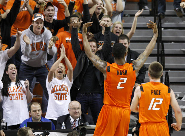 Oklahoma State's Le'Bryan Nash (2) and Keiton Page celebrate during an NCAA college basketball game between the Oklahoma State University Cowboys (OSU) and the Missouri Tigers (MU) at Gallagher-Iba Arena in Stillwater, Okla., Wednesday, Jan. 25, 2012. Oklahoma State won 79-72. Photo by Bryan Terry, The Oklahoman