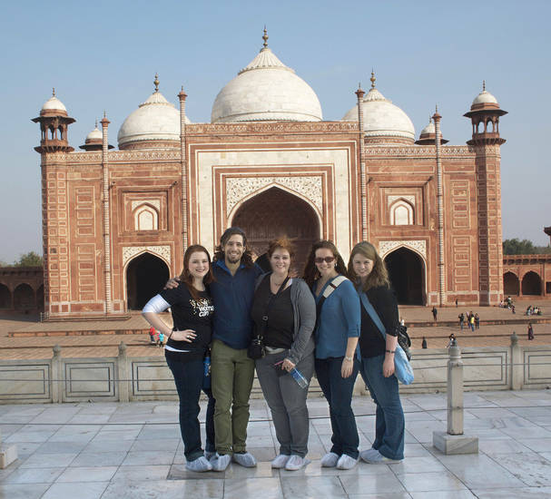 Visiting the Taj Mahal in India as part of the Oklahoma City contingent of Rotary International�s Global Study Exchange are, from left, Sarah Duggar, Ozarka Water; Joe Hudson, Regional Food Bank of Oklahoma; Megan Elliott, Accel Financial Staffing; Kate Blalack, Oklahoma State University; and Lindsay Houts, OPUBCO.  PHOTO PROVIDED
