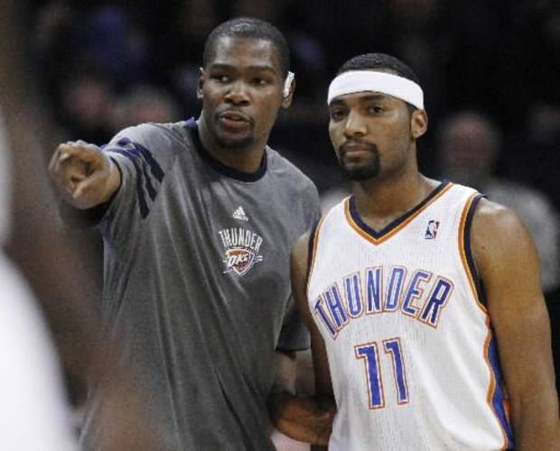 Kevin Durant did plenty of coaching and cheering from the bench in the Oklahoma City Thunder's three games in three nights.
