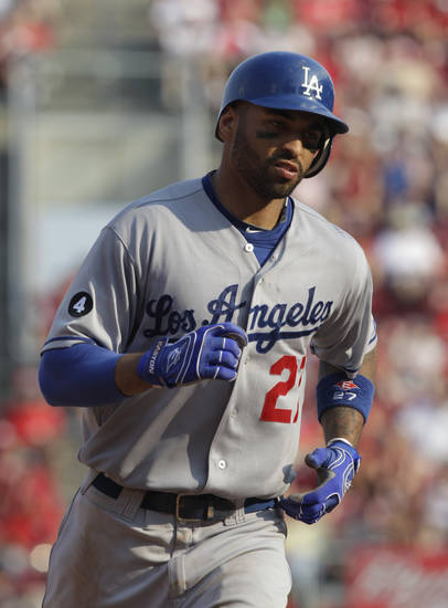 Los Angeles Dodgers center fielder Matt Kemp in action against the Cincinnati Reds in a major league baseball game, Saturday, June 4, 2011 in Cincinnati. (AP Photo/Al Behrman) ORG XMIT: NYEOTK