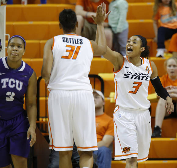 Oklahoma State's Tiffany Bias (3) celebrates with Kendra Suttles (31) during a women's college basketball game between Oklahoma State University and TCU at Gallagher-Iba Arena in Stillwater, Okla., Tuesday, Feb. 5, 2013. Photo by Bryan Terry, The Oklahoman