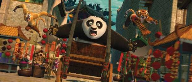 "Po (voice of Jack Black, center), Tigress (Angelina Jolie, right) and Monkey (Jackie Chan, left) are back in action chasing a runaway rickshaw in ""Kung Fu Panda 2."" DreamWorks Animation photo <strong></strong>"