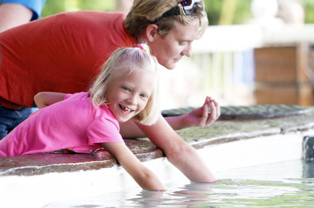 CHILD / CHILDREN / KIDS / REACTION: Kaitlin Ramage (7) of Del City reacts to  petting a sting ray at the Oklahoma City Zoo's newest Sting Ray Bay exhibit on Tuesday, July 16, 2013. Photo by Aliki Dyer/ The Oklahoman